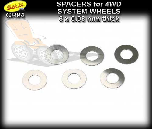 SLOT.IT 4WD PARTS CH94 - 6 x 0.08mm spacers for 4WD wheels