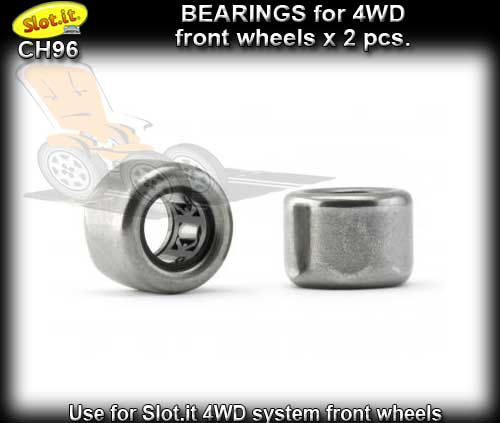 SLOT.IT 4WD PARTS CH96 - 2 x Bearings for 4WD front wheels