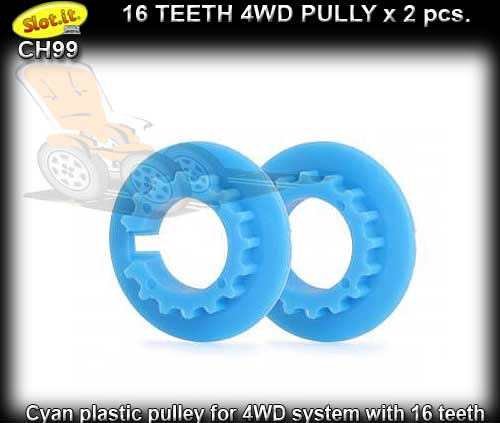 SLOT.IT 4WD PARTS CH99 - 2 x 16 tooth 4WD pulley