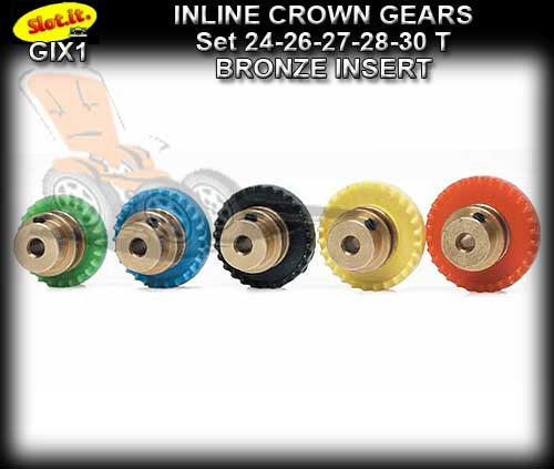 SLOT.IT GEARS GIX1 - 24/26/27/28/30 T Inline Crown Bronze Insert