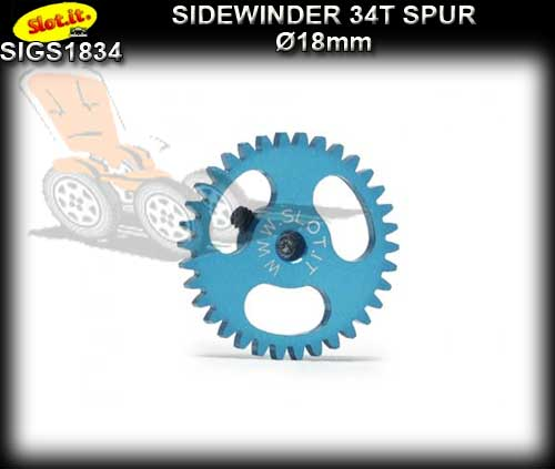 SLOT.IT GEARS GS1834 - 34T Ultralight Ergal Sidewinder Spur 18mm