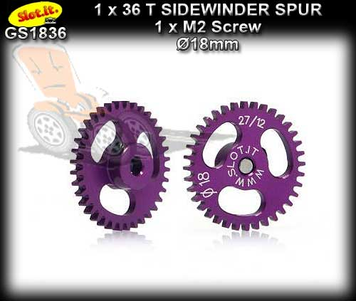 SLOT.IT GEARS GS1836 - 36T Ultralight Ergal Sidewinder Spur 18mm