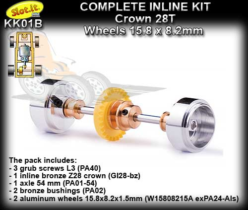 SLOT.IT AXLE STARTER KIT KK01B - Inline 28T - Small Hubs