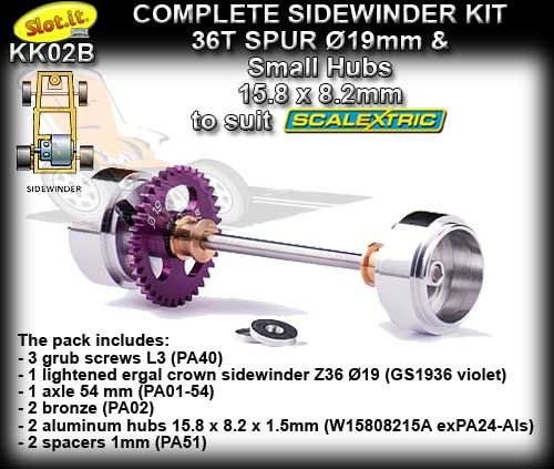 SLOT.IT AXLE STARTER KIT KK02B - Sidewinder 19t - short hub