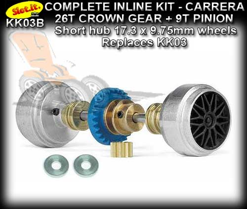 SLOT.IT AXLE STARTER KIT KK03B - Inline 26T Crown 17.3x9.75 Hub