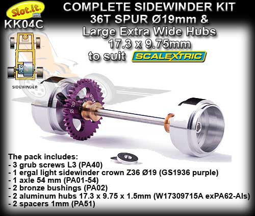 SLOT.IT AXLE STARTER KIT KK04C - 19mm O Sidewinder - Large Hubs