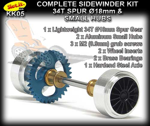 SLOT.IT AXLE STARTER KIT KK05 - Sidewinder 18mm - Al.Small Hubs