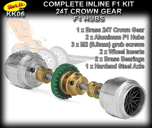 SLOT.IT AXLE STARTER KIT KK06 - F1 Inline 24T - Al. F1 Hubs