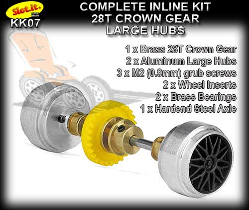 SLOT.IT AXLE STARTER KIT KK07 - Inline 28T - Al. Large Hubs