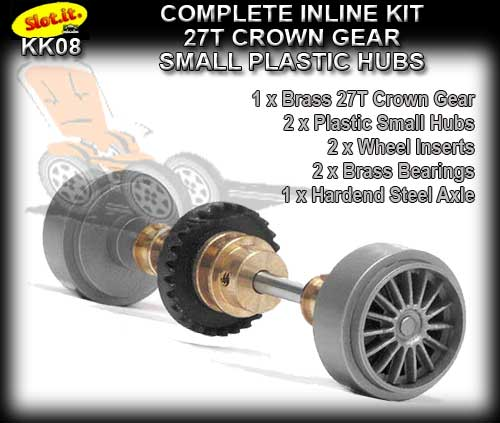 SLOT.IT AXLE STARTER KIT KK08 - Inline 27T - Plastic Small Hubs