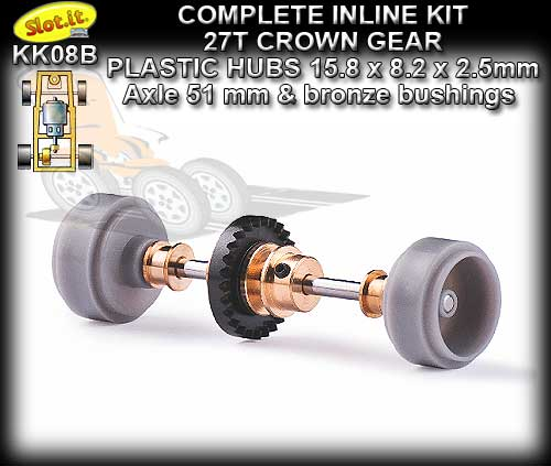 SLOT.IT AXLE STARTER KIT KK08B - Inline 27T - Plastic Small Hubs
