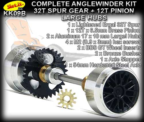 SLOT.IT AXLE STARTER KIT KK09B - Anglewinder - Al.Large Hubs