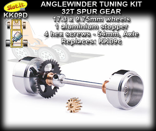 SLOT.IT AXLE STARTER KIT KK09D - Anglewinder 32t; 17.3x9.75wheel