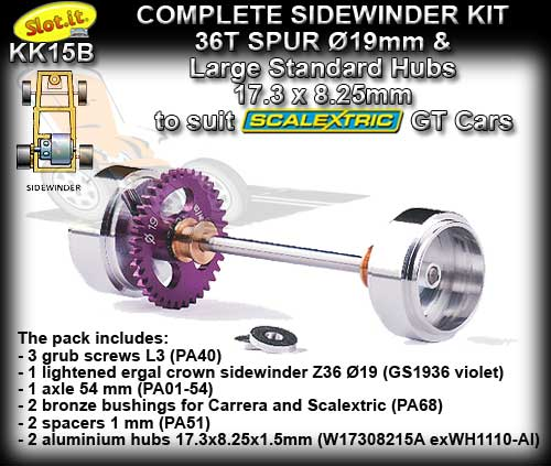 SLOT.IT AXLE STARTER KIT KK15B - Sidewinder 19mm - short hubs