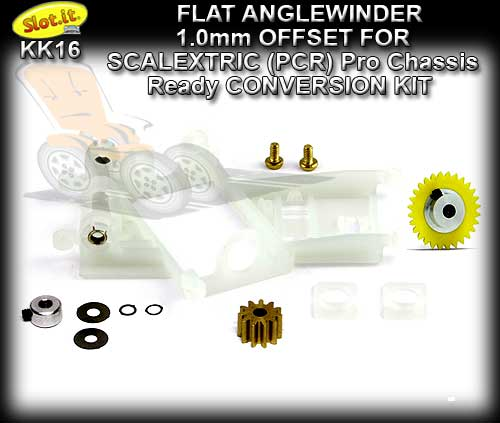 SLOT.IT CONVERSION KIT KK16 - PCR Flat Anglewinder 1.0mm OFFSET