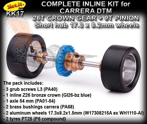 SLOT.IT AXLE STARTER KIT KK17 - Carrera DTM 17.3 x 8.2mm wheels