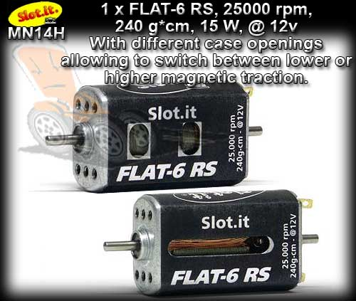 SLOT IT MOTOR MN14H - Flat-6 RS 25,000 rpm 240g*cm15w @12v