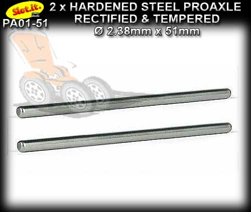SLOT.IT AXLE PA01-51 - 2 x Axle 51mm 3/32'' 2.38mm Hardened