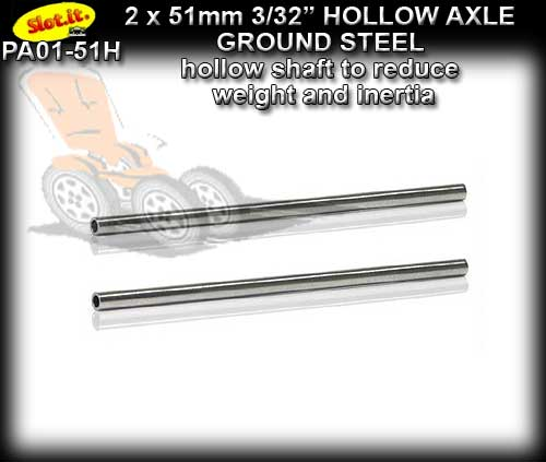 SLOT.IT AXLE PA01-51H - Hollow Axle 51mm x 3/32 dia. (2.38mm)