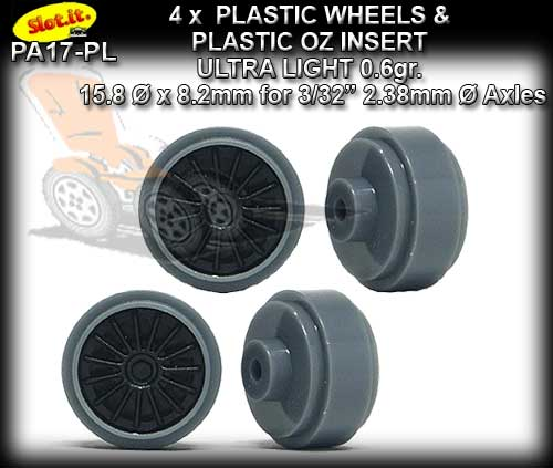 SLOT.IT WHEELS PA17-PL - 0.6g Plastic 15.8 x 8.2mm Standard Hub