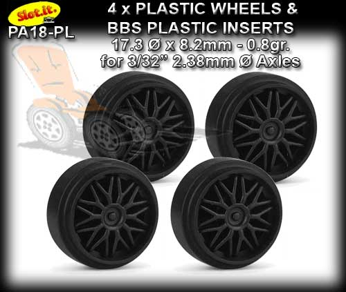 SLOT.IT WHEELS PA18-PL - 0.8gr. Plastic 17.3 x 8.2mm Std Hub