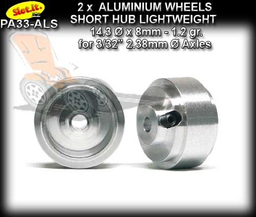 SLOT.IT WHEELS PA33-ALS - 1.2gr. Aluminum 14.3 x 8mm Short Hub