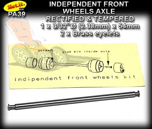 SLOT.IT AXLE SIPA39 - Independent Front Wheel Axle 54mm x 3/32