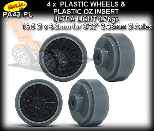 SLOT.IT WHEELS PA43-PL - 0.76 gr Plastic 16.5 x 8mm S/Hub