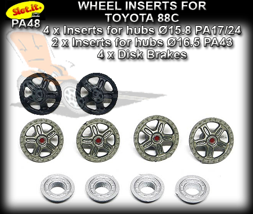 SLOT.IT WHEEL INSERT PA48 - Toyota 88C Wheel Inserts