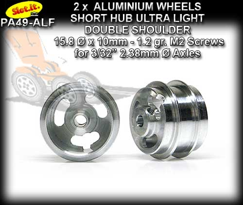 SLOT.IT WHEELS PA49-ALF - 1.2gr. Aluminum 15 x 10 mm Short Hub