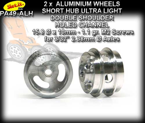 SLOT.IT WHEELS PA49-ALH - 1.1gr. Aluminum 15 x 10 mm Short Hub
