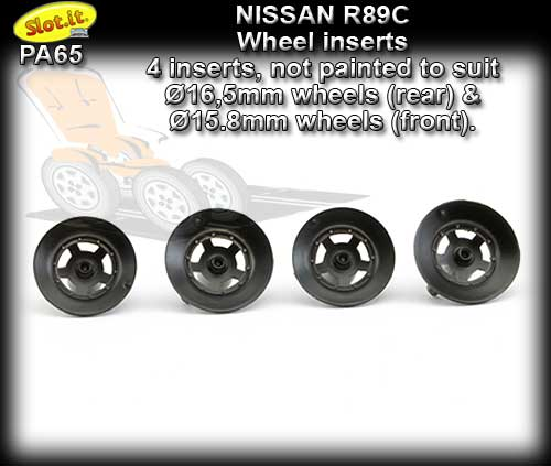 SLOT.IT WHEEL INSERT PA65 - Nissan R89C type Wheel Inserts