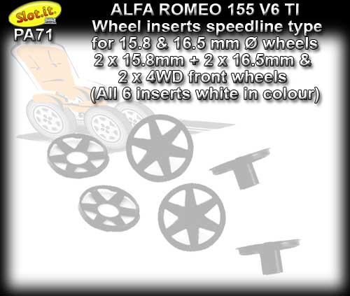 SLOT.IT WHEEL INSERT PA71 - Alfa Romeo 155 V6 TI Speedline type
