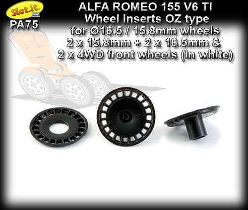 SLOT.IT WHEEL INSERT PA75 - Alfa Romeo 155 V6 TI OZ type