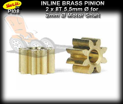 SLOT.IT GEARS PI08 - 8T Inline Brass Pinion Gear (5.5mm)