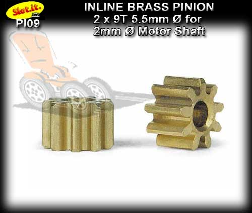 SLOT.IT GEARS PI09 - 9T Inline Brass Pinion Gear (5.5mm)