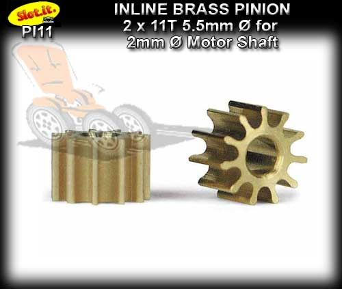 SLOT.IT GEARS PI11 - 11 T Inline Brass Pinion Gear (5.5mm)