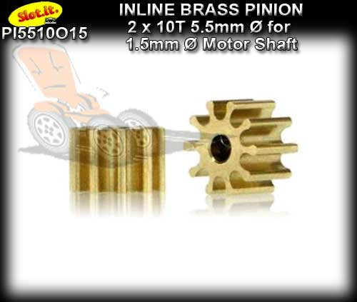 SLOT.IT GEARS PI5510O15 - 10T Inline Brass Pinion Gear (5.5mm)