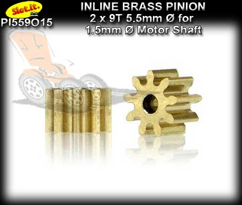 SLOT.IT GEARS PI559O15 - 9T Inline Brass Pinion Gear (5.5mm)