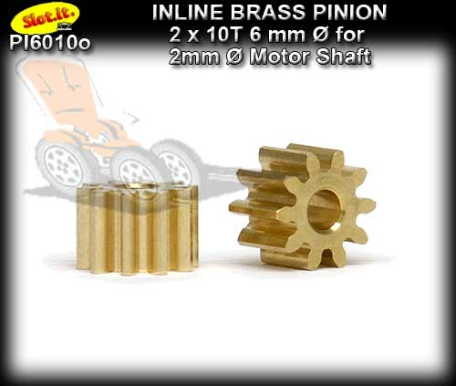 SLOT.IT GEARS PI6010o - 10T Inline Brass Pinion (6.0mm dia)