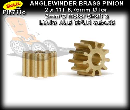 SLOT.IT GEARS PI6711o - 11 T Anglewinder Brass Pinion (6.75mm)