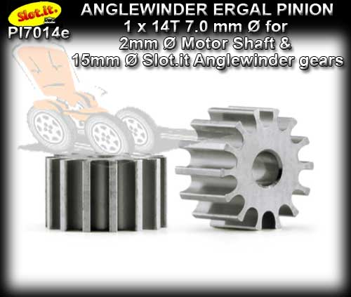 SLOT.IT GEARS PI7014E - 14T anglewinder Ergal Pinion (7.0mm)