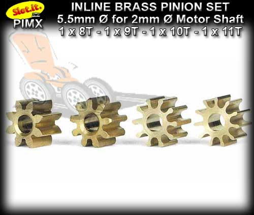 SLOT.IT GEARS PIMX - Set Inline 5.5mm dia Brass Pinion Gears
