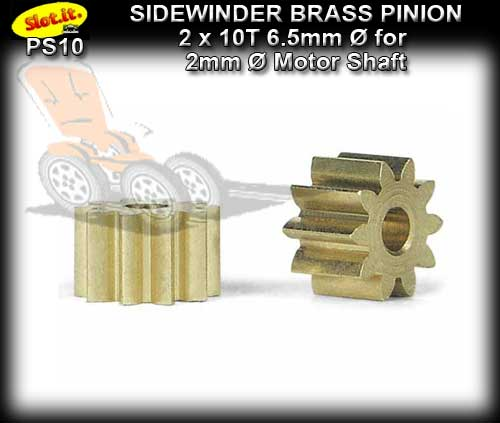 SLOT.IT GEARS PS10 - 10 T Sidewinder Brass Pinion Gear (6.5mm)