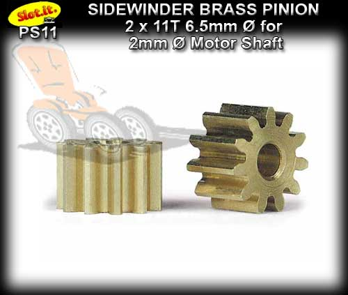 SLOT.IT GEARS PS11 - 11 T Sidewinder Brass Pinion Gear (6.5mm)