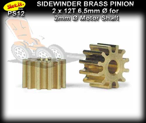 SLOT.IT GEARS PS12 - 12 T Sidewinder Brass Pinion Gear (6.5mm)