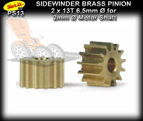 SLOT.IT GEARS PS13 - 13 T Sidewinder Brass Pinion Gear (6.5mm)