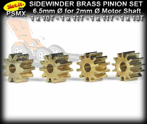SLOT.IT GEARS PSMX - Set Sidewinder 6.5mm dia.Brass Pinion Gears
