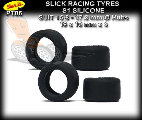 SLOT.IT TYRES PT06 - S1 Silicone Slick Racing Tyres 19 x 10mm