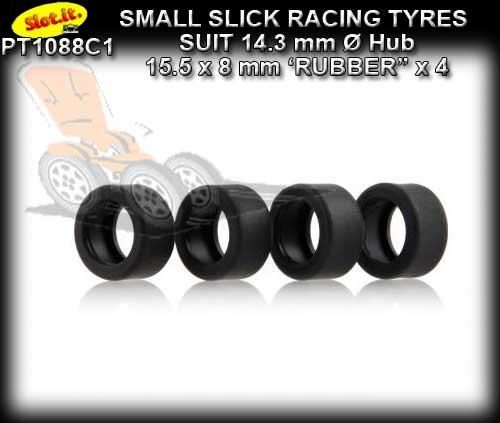 SLOT.IT TYRES PT1088C1 - C1 Slick Front Tyres 15.5 x 8mm